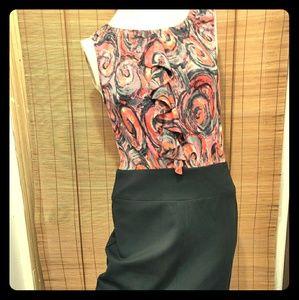 Trina Turk dress RUFFLED top with pencil skirt